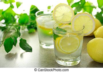limão, água
