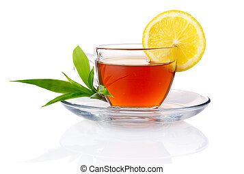 limão, copo, chá sai, isolado, pretas, verde