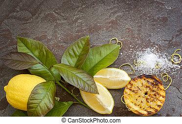 limão, fundo, alimento
