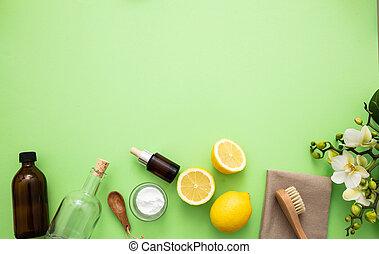 limão, produtos, eco, vinagre, limpeza, fundo, soda