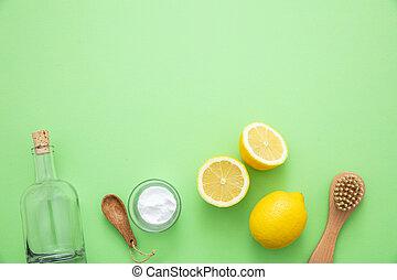 limão, vinagre, fundo, eco, soda, produtos, limpeza