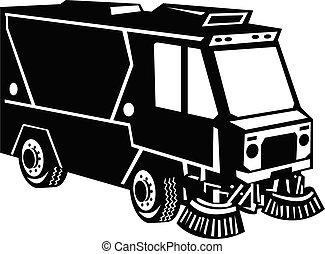 limpador, branca, lado, caminhão, retro, rua, vista, pretas