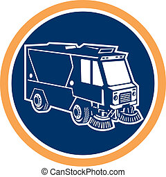 limpador, círculo, rua, caminhão, retro