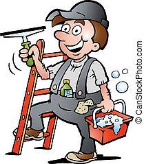 limpador, janela, ilustração