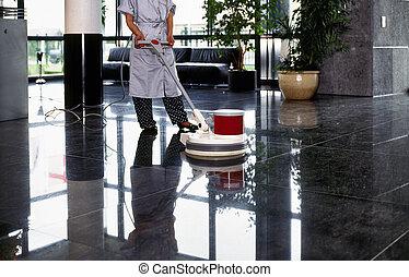 limpador, mulher, chão, uniforme, empregada, adulto, corredor, passagem, limpeza