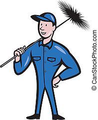 limpador, varredor, trabalhador, caricatura, chaminé
