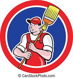 limpador, vassoura, segurando, círculo, zelador, caricatura