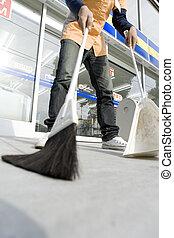 limpeza, conveniência, cima, loja, salesclerk