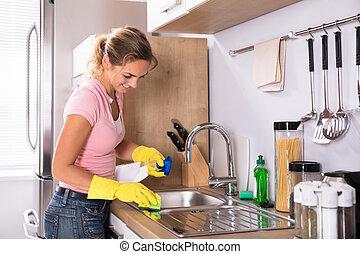 limpeza, pia, mulher, cozinha