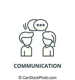 linear, conceito, comunicação, símbolo, sinal, vetorial, ícone, linha, esboço
