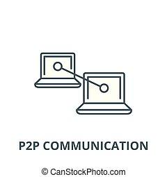 linear, conceito, comunicação, símbolo, sinal, vetorial, p2p, ícone, linha, esboço