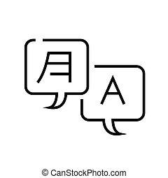 linear, conceito, esboço, símbolo., ícone, comunicação, sinal, vetorial, interlanguage, linha, ilustração