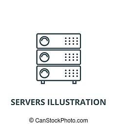 linear, conceito, símbolo, ilustração, servidores, sinal, vetorial, ícone, linha, esboço