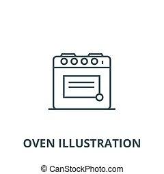 linear, conceito, símbolo, ilustração, sinal, vetorial, forno, ícone, linha, esboço