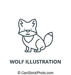 linear, conceito, símbolo, ilustração, sinal, vetorial, lobo, ícone, linha, esboço
