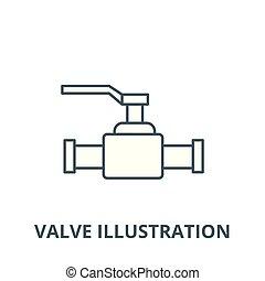 linear, conceito, símbolo, válvula, ilustração, sinal, vetorial, ícone, linha, esboço