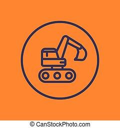linear, escavador, ícone, círculo