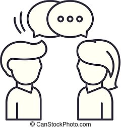 linear, ilustração, comunicação, concept., símbolo, vetorial, linha, sinal, ícone