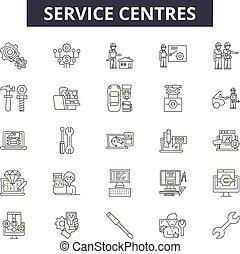linear, serviço, jogo, ícones, ilustração, conceito, vetorial, centros, linha, sinais, esboço