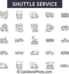 linear, serviço, jogo, ícones, ilustração, conceito, vetorial, lançadeira, linha, sinais, esboço