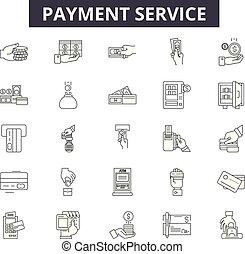 linear, serviço, jogo, ícones, ilustração, conceito, vetorial, linha, sinais, pagamento, esboço
