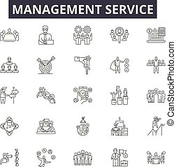 linear, serviço, jogo, ícones, managment, ilustração, conceito, vetorial, linha, sinais, esboço