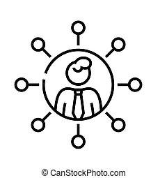 linear, sinal, esboço, linha, ícone, comunicação, ilustração, símbolo., vetorial, conceito, empregado