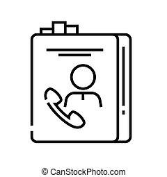 linear, telefone, conceito, esboço, ícone, símbolo., sinal, vetorial, linha, ilustração