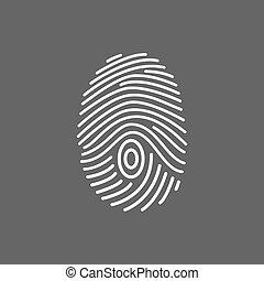lines., impressão digital, icon., varredura, branca