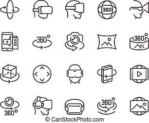 linha, 360 grau, ícones