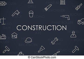 linha, construção, magra, ícones