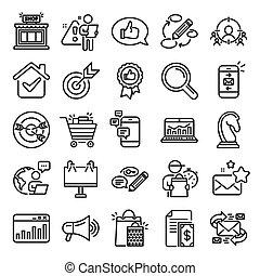 linha, estratégia, feedback., icons., marketing, vetorial