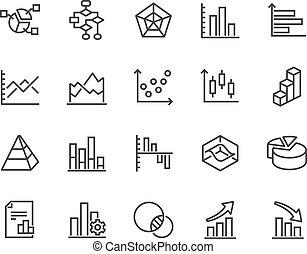 linha, gráficos, diagramas, ícones