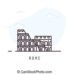 linha, roma, colosseum, estilo