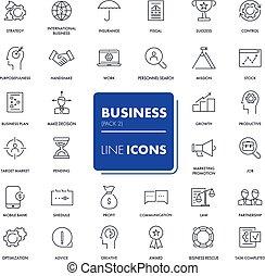linha, set., ícones negócio