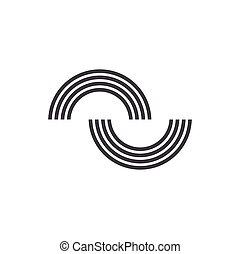 linha, simples, arco íris, ligado, curvas, forma, vetorial, logotipo