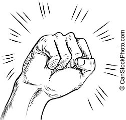 linha, soco, ilustração, mão