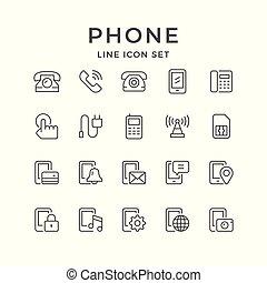 linha telefone, jogo, ícones