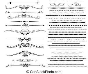 linhas, regra, ornamental, diferente