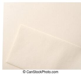 linho, jogo, envelope, cabeçalho, em branco