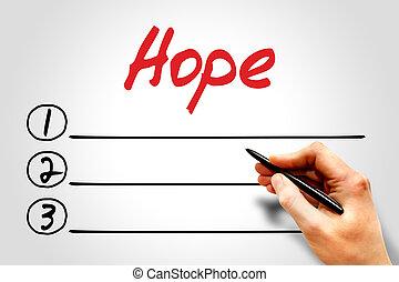 lista, esperança, em branco