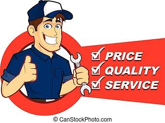 lista, mecânico, serviço