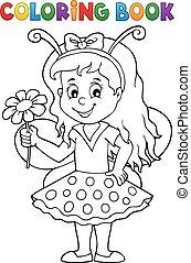 livro, 1, coloração, menina, ladybug, tema