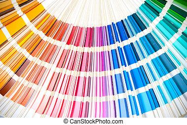 livro, arco íris, matriz, cores, swatches, mostrando, abertos, colorido