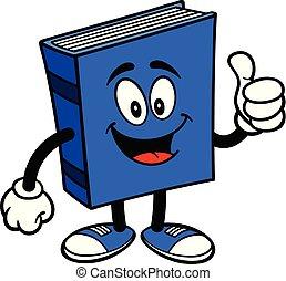 livro azul, polegares cima
