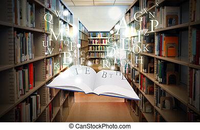 livro, inteligência, flutuante, biblioteca, educação