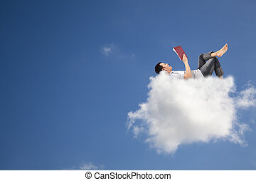 livro, leitura, nuvem, relaxe