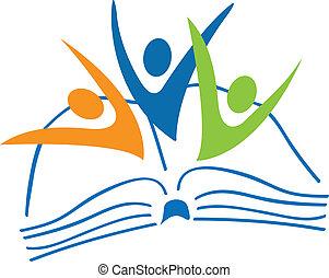 livro, logotipo, estudantes, figuras, abertos