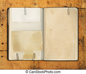 livro, madeira resistida, em branco, vindima