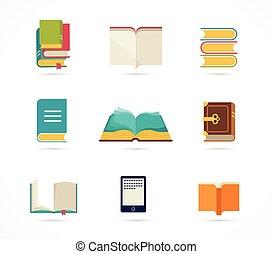 livros, cobrança, ícones